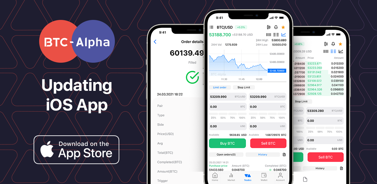 BTC-Alpha IOS Application Updates: Trading has become even more convenient and comfortable!